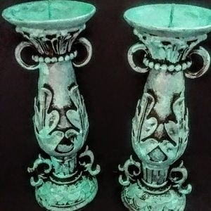 Shabby Cottage Chic Distressed 11 inch Candlestick